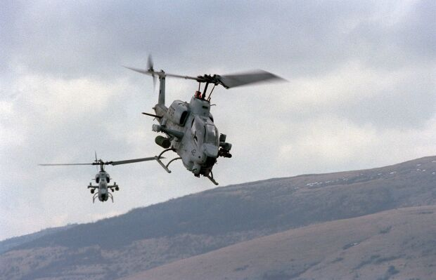Two U.S. Marine AH-1W Super Cobra Helicopters [Exercise ...
