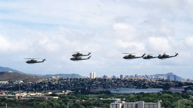 Image: Six AH-1Fs flying over Honolulu