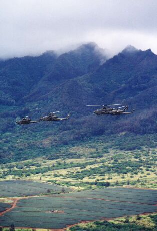 Image: AH-1Fs fly near Waianae Mountains